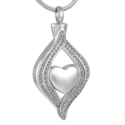 Luyangyund Collar de urna de Diamantes de imitación para Cenizas Cementación Memorial Mantiene joyería Regalo (Main Stone Color : White)