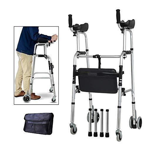 Rolling Walker mit aufrechter Haltung und Armlehnenstützpolster, 4-Rad-Rollator mit Sitz, Gehhilfe für ältere Menschen für Senioren, 88 * 58 cm Leichtgewicht