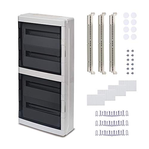 Aufputz Feuchtraum Verteiler Pro 4-reihig IP65 72 Module - Verteilerkasten Kleinverteiler Sicherungskasten, Tür transparent