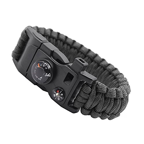 Jacqu 15 in 1 survival vuur starter paracord whistle versnellingsbak gesp camping ontsteking reddingskabel escape armband reizen