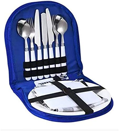 CHANG JIAER Camping Cutlery Set-piece outdoor travel cutlery, forks with spoon knife bottle opener Plate And Ideal For outdoor cookware Travel Hiking Camping,Blue