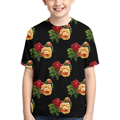 WoodWorths Vintage Roses Wallpaper Pattern Teenager Junior Boys Girl Youth Short Sleeve T Shirt tee Colorful Shirts(Medium,Black)