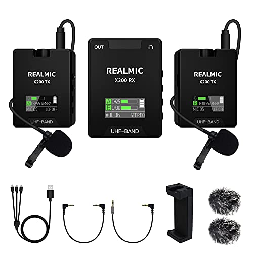 Wireless Lavalier Microphone System Compatible with DSLR Cameras, Camcorders, Smartphones, and Tablets for YouTube Facebook Live, Vlog Recording, Interview, Podcast, etc. (X200S)