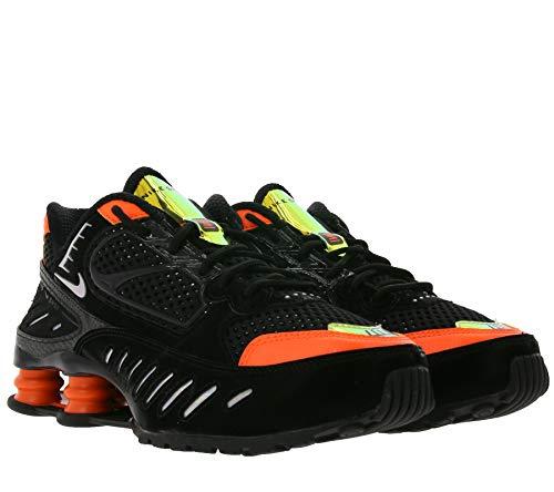 Nike Shox Enigma SP Sneaker schicke Damen Low Top Schuhe Freizeit-Schuhe Mode-Schuhe mit reflektierenden Details Schwarz/Orange, Größe:40 1/2