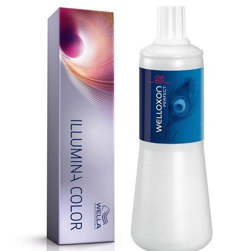 Wella Illumina Haarfarbe 7/81Mittel Pearl Aschblond 60ml und Welloxon 6% 20Vol 1000ml Twin Pack