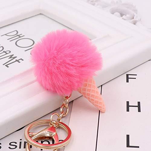 EIS Schlüsselbund Weiche künstliche Rex Kaninchen Haarball Schlüsselring Porte Notenschlüssel Pompom De Fourrure Frauen Umhängetasche Auto AnhängerGeschenk YSQ-Wassermelone