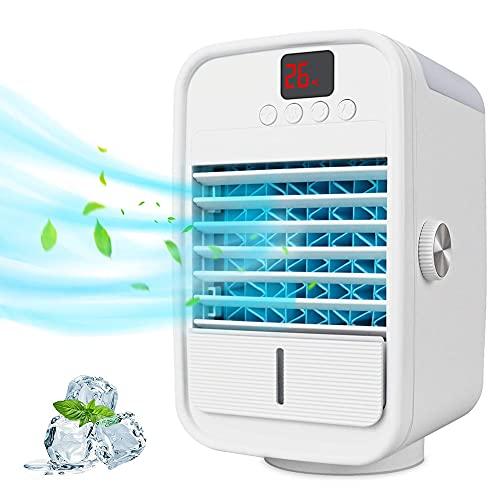 SJTL Aire Personal y Portátil, Aire Acondicionado Portátil, Aires Acondicionados Móviles Agitador Izquierdo y Derecho 120 °, 3 en 1 Ventilador/Humidificador/Acondicionador, para Oficina, Hogar