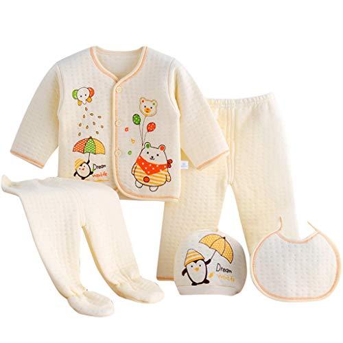 Value Pack Recién Nacido Bebé, LANSKIRT 6PCS Bebé Niña Niño Dibujos Animados Manga Larga Tops + Sombrero + Dos Pantalones + Conjunto de Traje Babero (Amarillo-02, 0-3 Meses)