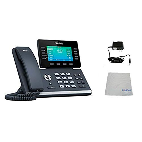 Yealink T54S SIP POE Office Phone Bundle with Power Supply and Microfiber Cloth   Requires VoIP Service - Vonage, Ring Central, 8x8, Mitel or Cloud Services   #YEA-T54S (T54S Basic Bundle)