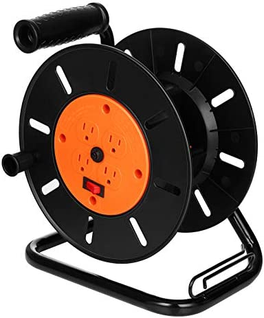 Suraielec Extension Cord Reel with 4 Outlets 15 AMP Circuit Breaker Sturdy Metal Stand Holds product image