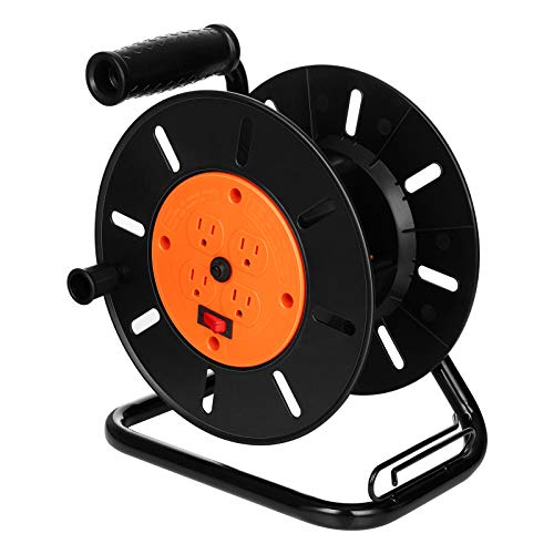 Suraielec Extension Cord Reel with 4 Outlets, 15 AMP Circuit Breaker, Sturdy Metal Stand, Holds Up to 100 ft 16/3, 14/3 or 75ft 12/3 Cord, Portable Empty Hand Crank Electric Cord Roller, ETL Listed