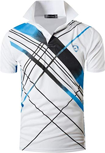 jeansian Herren Summer Sportswear Wicking Breathable Short Sleeve Quick Dry Polo T-Shirts Tops LSL226 White XL