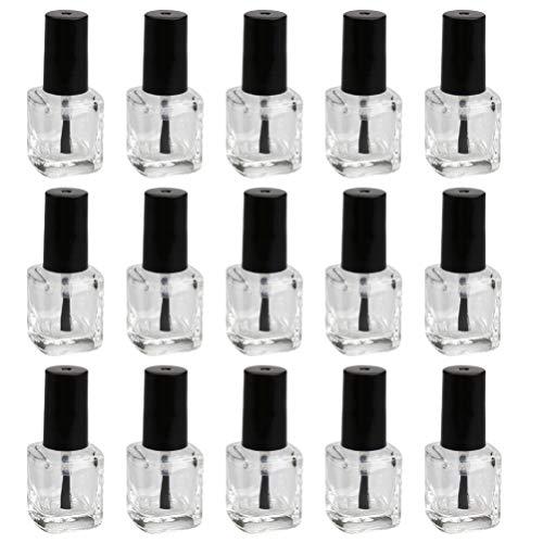 Minkissy - 15 flaconi da 15 ml, in vetro vuoto, forma quadrata, per smalto e smalto trasparente, con tappo e spazzola morbida per ragazze e donne