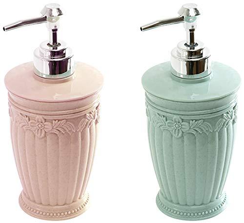 N\A EACHPT 2pcs dosificador jabón plastico Botella dispensador de jabon Recargable Flor Tallada...
