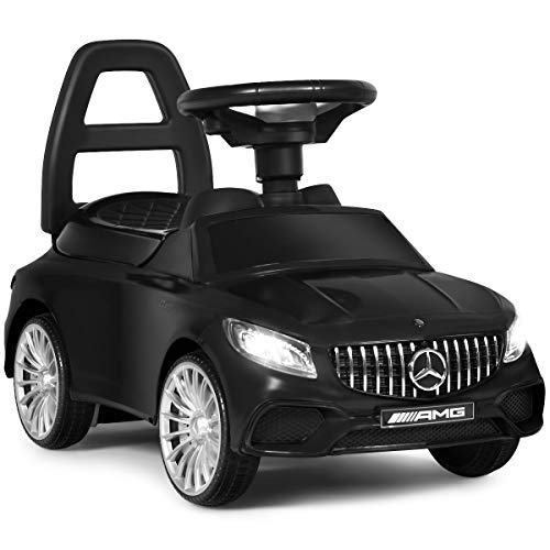 Costzon Kids Push and Ride Racer, Licensed Mercedes Benz Ride On Push Car w/ Horn, Music, Under Seat Storage, LED Headlight, Foot-to-Floor Sliding Car Pushing Cart for Toddler Gift Toy (Black)