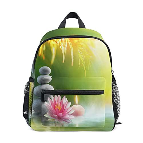 Mochila infantil para niñas y niños, diseño floral de piedra zen de loto japonés, con correa para el pecho y portabotellas para guardería preescolar, ligera