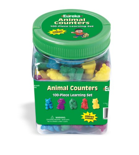Eureka Classroom Supplies Learn to Count Counting Animals with Storage Tub  100 pcs