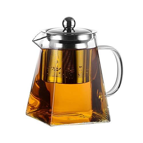 Amisglass Teekanne Glas mit Siebeinsatz Glaskanne 800ml mit 18/10 Edelstahl Teesieb Glas Teebereiter mit Deckel - Spülmaschinenfest - Hitzebeständig & Transparent
