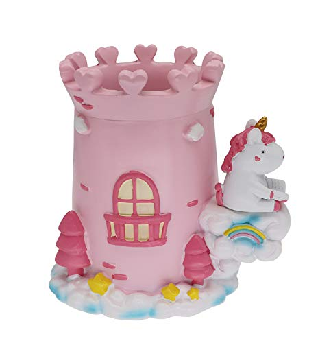Cute Castle Unicorn Pen Pencil Holder Desk Organizer Office Desktop Stationery Organizer Makeup Brush Holder Cup for Office Bathroom Kitchen Bedroom Home Decor Unicorn Gifts for Girls Women Kids