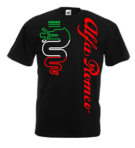Generico t-Shirt Alfa Romeo World Rally Team Car STI Tuner(L, Nero)