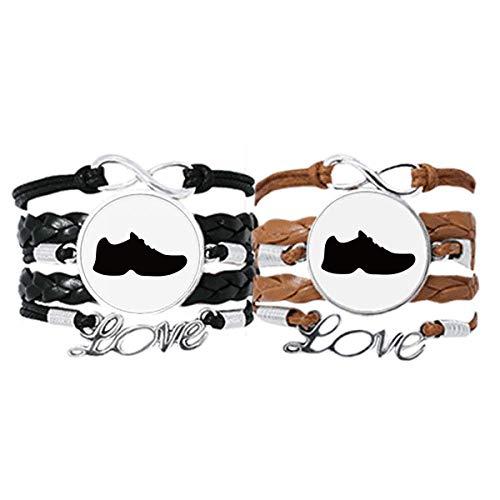 DIYthinker Herren-Armband mit schwarzen Sportschuhen und Umriss-Muster, Handschlaufe, Lederseil, Doppelset, Geschenk