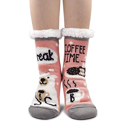 Chaussettes Femme Hiver Épais Chauds Chaussons Chaussettes avec semelle antidérapante Fille Chaussettes à La Maison Noël Cadeau