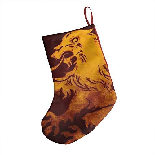 Fire Lion Christmas Stockings, 18' Big Xmas Stockings, Polyester Classic Plush Mercerized Velvet Stockings Santa Gift for Family Holiday Xmas Party Decorations