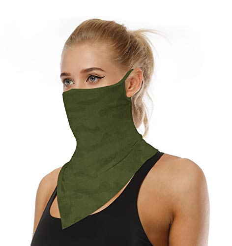 Face Mask Reusable Washable Cloth Bandanas Women Men Neck Gaiter Cover Ear Loops for Dust Army Green