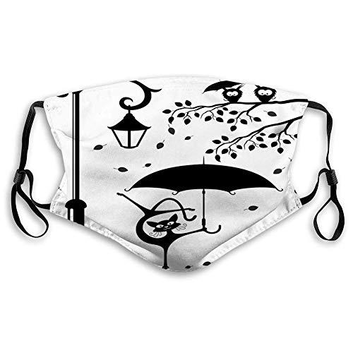 Cómoda impresión ma-sk, gatito divertido con paraguas bailando bajo la calle linterna, decoraciones faciales a prueba de viento para adolescentes