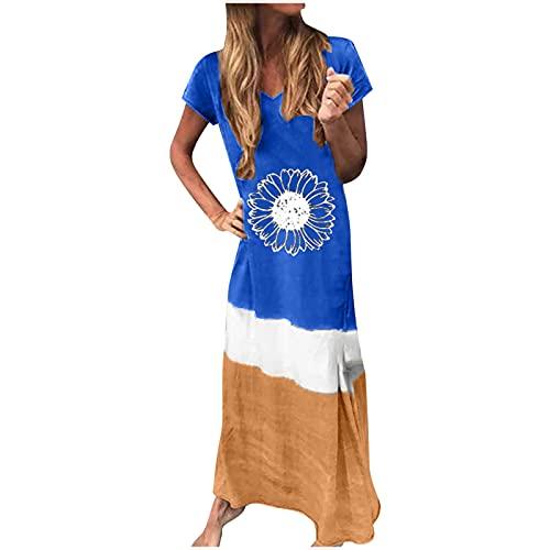 AMhomely Vestido de verano para mujer en Reino Unido, holgado, casual, empalme, manga corta, impreso, cuello redondo, hasta el tobillo, vestido de fiesta, elegante, vestido casual de playa,