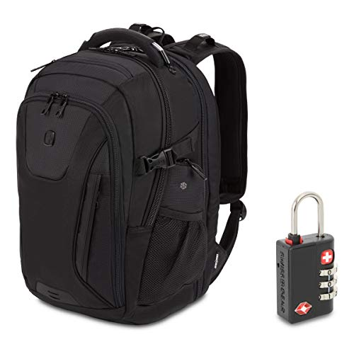 SWISSGEAR 5358 Ultimate Protection USB TSA Friendly ScanSmart Laptop Backpack and Cable Lock Bundle - Black Stealth