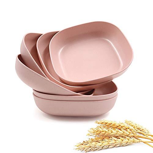 6 platos cuadrados ligeros de paja de trigo de 14,5 cm, platos de cena profunda, vajilla de camping para servir pasta de frutas para niños pequeños y adultos (rosa)