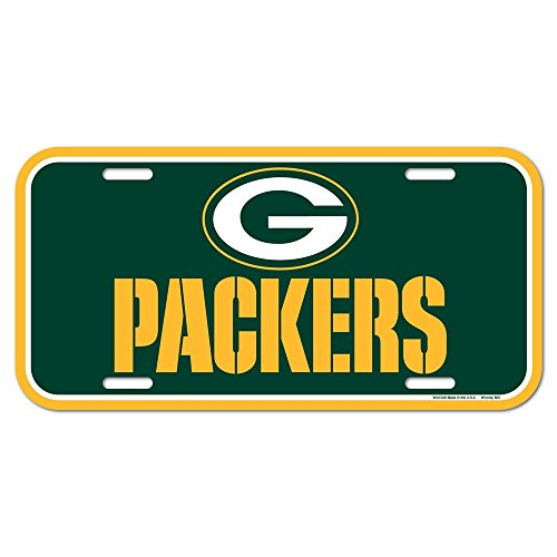 WinCraft NFL Green Bay Packers License Plate, Team Color, Plastic, 1 Size