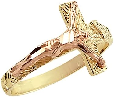 Sonia Jewels 14k Yellow and Rose Gold Cross Crucifix Jesus Ring