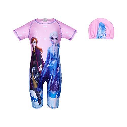 LQSZ - Costume da Bagno da Bambina con Protezione dai Raggi UV e Cuffia da Bagno, Estivo, Multicolore Colore: Rosso 100 cm (2-3 Anni)