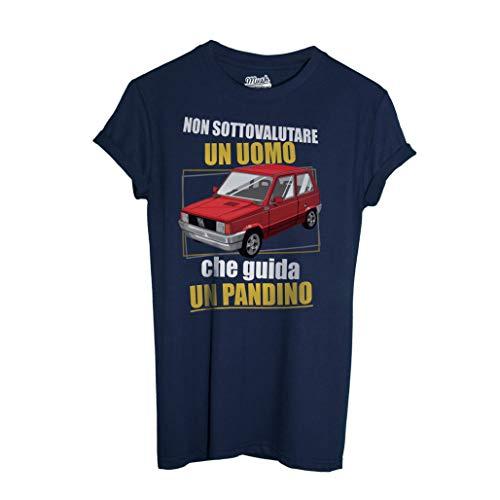 MUSH T-Shirt Non Sottovalutare Un Uomo Che Guida Un PANDINO-Panda Fiat - Social by Dress Your Style - Uomo-XL-Blu Navy