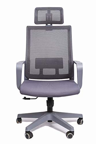 Nemi Agency ADINATH Furniture Executive/revolving/Office/Desk/High Back Chair in (Grey) Color with Nylon Base and castors