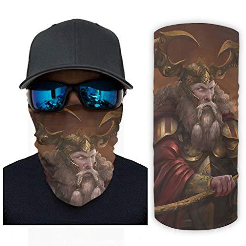 CCMugshop Bandanas para la cara, armadura vikinga, Odin guerrero, con impresión, protección UV, color blanco, talla única