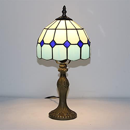 XYQS Cross-Border New Tiffany Style Lighting Moderno Minimalista Oficina de Estudio de 8 Pulgadas Lámpara de Mesa de 8 Pulgadas Protección Ocular Luz de Noche de Noche (Color : Blue, Size : 8inch)