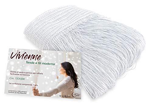 Tex family Tenda a Fili Vivienne per Porta CM. 150X300 Tinta Unita Bianco