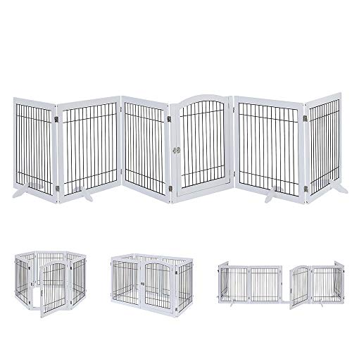unipaws Pet Playpen with Wooden Construction and Wire, 6 Panels Freestanding Walk Through Dog Gate with 4 Support Feet, Foldable Stairs Barrier Pet Exercise Pen for Dogs Cats Pets, White