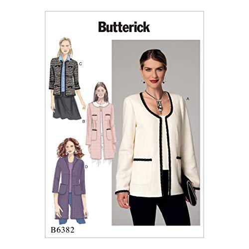 Butterick Patterns Butterick Pattern 6382 E5 Misses Jacket, Multicolore, Taglie 14 – 22