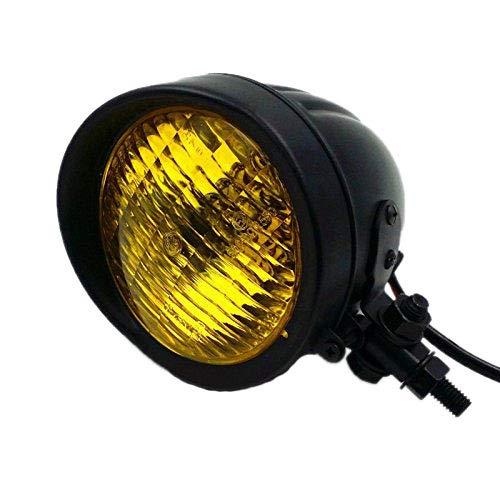 Retro Metall 60 Watt / 55 Watt Motorrad Kugelkopf Licht Lampe Scheinwerfer für Cruiser Chopper Cafe Racer Bobber (schwarz / Bernstein)