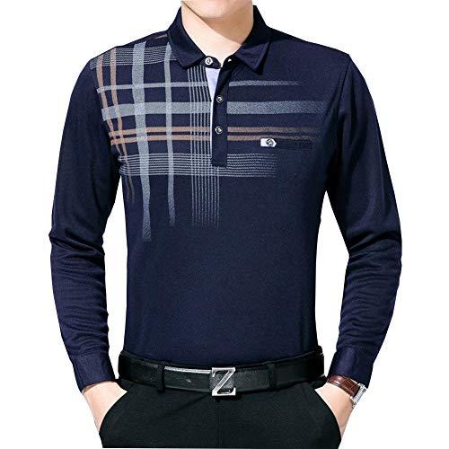 Camisa De Los Simple Edad Estilo Hombres Tamaño De Gran Media Longsle Delgada Blusa A Cuadros En Forma De T Y Otoño Camisa De Regalo del Padre (Color : Cyan, Size : XL)