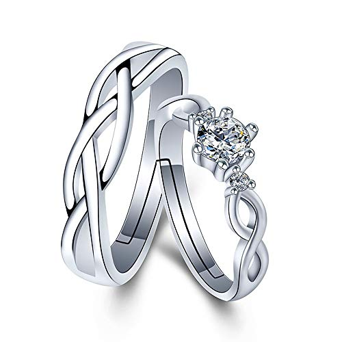 CHuir Matching Couple Rings, Adjustable 925 Sterling Silver Bamboo Wedding Promise Ring Set for Him and Her (Endless love)