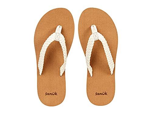 Sanuk Women's Stacker Braid Flip-Flop, White, 7