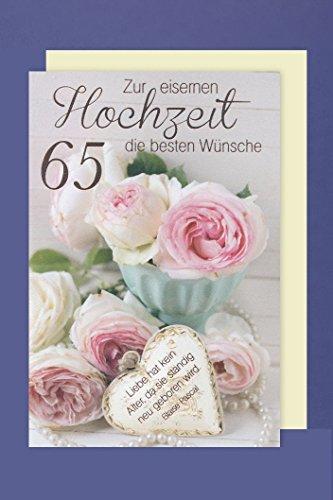 Eiserne Hochzeit 65 Hochzeitstag Grußkarte Foliendruck Blumen 16x11cm
