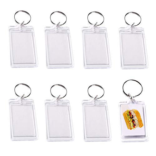 10Pcs Clear Acrylic Photo Keychains Blank Rectangle Shape Picture Frame Keychain Keyring Insert Personalized Keychain Snap in Insert Key Chain Keyrings Key Holder Great for DIY Gift