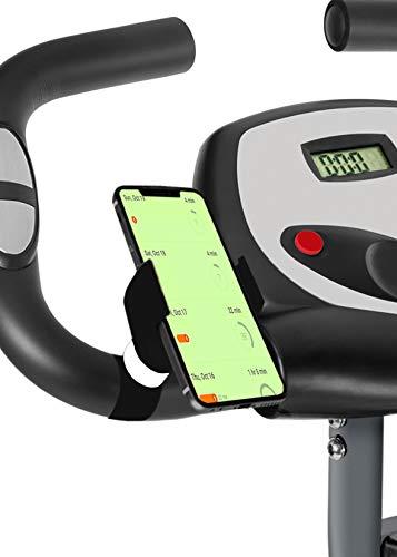 Porta Cellulare Bici Cyclette Pieghevole valido per Smartphone con Schermo Fino a 7' Porta Telefono Bici Bicicletta Cyclette ellittica Bici Spinning (Nero)