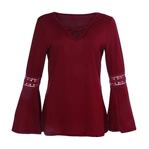 HX fashion Damestops Trompetmouwen V-Hals T-Shirt Shirt Comfortabele Maten Met Lange Mouwen Wijde Blouse Kanten Blouse Sweatshirt Tops
